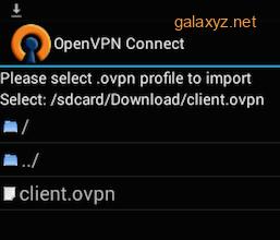 Ứng dụng OpenVPN Android chọn cấu hình VPN để nhập