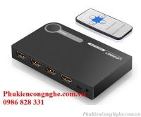 Bộ gộp HDMI 3 vào 1 ra hỗ trợ 3D full HD 4K chính hãng Ugreen 40234